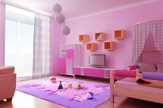 Bedroom:Pink Girl Kids Bedroom Color Schemes With Rug Curtain Lamp Tv Storage Wooden Lovely Best Teenage Bedroom Color Schemes Ideas