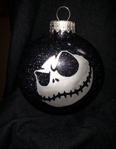 Jack Ornament with Glitter by EtchieSketch on Etsy Dark Christmas, Halloween Christmas, Christmas Balls, Homemade Christmas, Christmas Crafts, Halloween Crafts, Christmas Ideas, Nightmare Before Christmas Drawings, Nightmare Before Christmas Ornaments