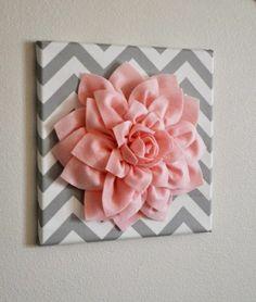 diy moderne Leinwandbilder chevron muster rosa kunstblume