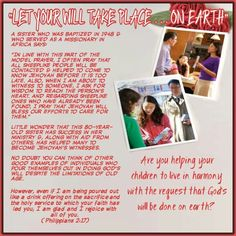 """""""LET YOUR WILL TAKE PLACE ... ON EARTH""""/A sister who was baptized in 1948 & who served as a missionary in Africa says:   """"In line with this part of the model prayer, I often pray that all sheeplike people will be contacted & helped to come to know Jehovah before it is too late. Also, when I am about to witness to someone, I ask for wisdom to reach the person's heart. And regarding sheeplike ones who have already been found, I pray that Jehovah will bless our efforts to care for them.""""…"""