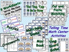 Telling Time Activity Pack! Time games, printables, crossword puzzles, word wall cards, and more! http://www.teacherspayteachers.com/Product/Telling-Time-Math-Centers-Activities-Pack