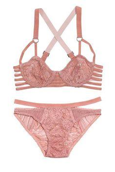 Figleaves Midnight Grace polka dot sweetheart neckline bikini top pink 32DD