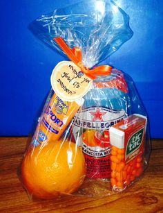"Gift from PTO during Teacher Appreciation Week reads ""Orange you glad it's summer?"" Clever!"
