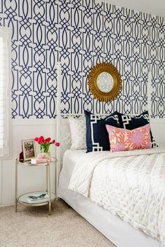 Lexi Westergard Design | Vermont Remodel | Little Girls Room | Geometric Wallpaper