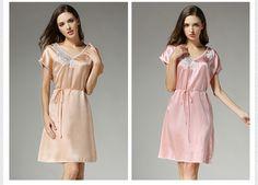 Women s Silk Pajama Set Silk Loungewear Short Sleeve Embroidery Lace T7701   f0ade44bc