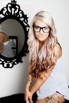Blonde hair w/burgundy peekaboo low lights