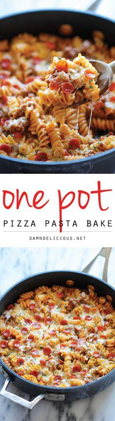 one pot pizza pasta - testée avec des merguez - à tester avec du saucisson de cerf