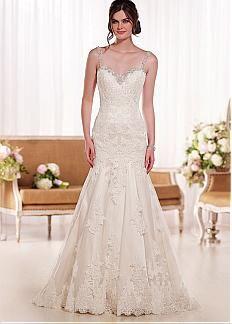 Vestido elegante de la boda de Tulle de correas espaguetis escote cintura natural Sirena con apliques de encaje lentejuelas