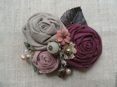 Купить Брошь из льна Жемчужный лен Бордовая - бордовый, серый, натуральные оттенки, натуральные ткани