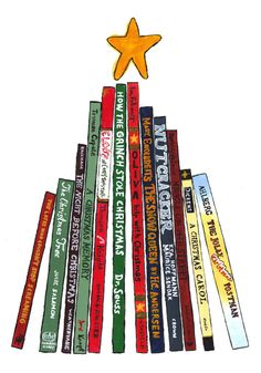 8 Pack of Christmas Cards -- Tree of Books by BookNotes on Etsy, $12.00