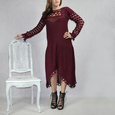 """Stylowa elegancka sukienka z kolekcji """"GOTYK I BAROK"""" robiona szydełkiem rozm.36-44"""