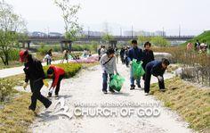 """하나님의교회(안상홍님) 환경정화활동""""함께 가꾸어요, 맑고 깨끗한 하천!"""""""
