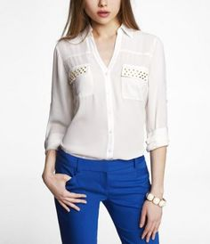 STUDDED PORTOFINO SHIRT at Express