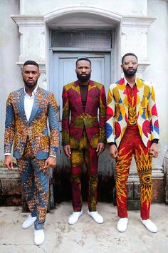 """Ankara takes a contemporary twist with Kamsi Tcharles' spring/ summer collection titled """"Czar and The Rabbi"""" . The Nigerian design label spotlights Actor Chris Okagbue and """"Gentleman"""" singer Ric H… African Fashion Ankara, Ghanaian Fashion, African Inspired Fashion, African Print Fashion, Africa Fashion, African Dresses For Women, African Print Dresses, African Attire, African Wear"""