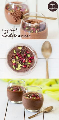 Fluffy vegan chocolate mousse with aquafaba 3 ingredient INSANELY FLUFFY vegan chocolate mousse with an optional chilli kick. Try it and you wont be able to stop making it. Source by lazycatkitchen Sweet Recipes, Whole Food Recipes, Cooking Recipes, Vegan Treats, Vegan Foods, Aquafaba Recipes, Vegan Chocolate Mousse, Chocolate Chocolate, Chocolate Desserts