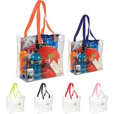 """Rally your promotional troops for success at your next event with our Rally clear tote! Made from non-woven polypropylene, this versatile carrier features an open main compartment with double 21-1/2"""" webbing handles, and transparent clear material perfect for stadium, workplace, school safety and event purposes. With an imprint area of 7"""" x 5"""", you get a color print of your logo or message. Get your business the brand awareness it deserves!"""