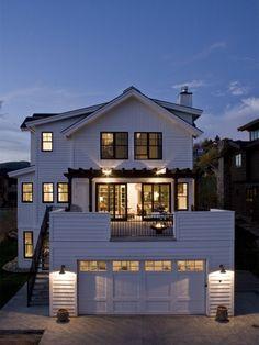 Farmhouse Exterior Design Ideas, Pictures, Remodel and Decor Design Exterior, Garage Design, Deck Design, Interior Exterior, Window Design, Modern Farmhouse Exterior, Farmhouse Design, Farmhouse Decor, Garage Roof