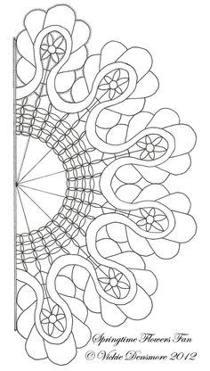 Free pattern for Springtime Flowers  Fan by All Things Parchment Craft. Would make a great quilting pattern, a coloring page, etc.