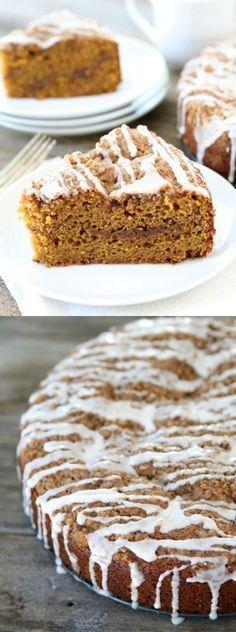 Pumpkin Cinnamon Streusel Coffee Cake Recipe on twopeasandtheirpod.com This coffee cake is great for breakfast or dessert! #pumpkin #cake