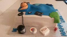 Teenager in bed cake