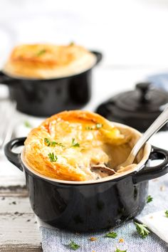Pie recipes | chicken recipes | comfort food recipes | Chicken and Mushroom Pot Pies Recipe - This is a classic British comfort food! Perfect for the colder months! | savorynothings.com