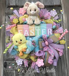 Happy Easter, Floral Wreath, Spring Wreath, Spring Decor, Spring Door, Spring Swag, Bunny Wreath, Bunny Decor, Easter Wreath, Easter Swag, Easter Decor Happy Easter Grassy Green, Sunshine Yellow, Cotton Candy Pink, Robin Egg Blue and Lavender create an inviting welcome to the Spring