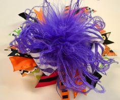 """Halloween Hair Bow, Zebra, Purple, Orange, Black, Pink, Green, Ostrich Feather, Eyeballs, Chevron, Skulls, Spiders, Pumpkins, 4"""""""