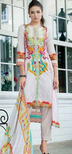 Off-White Cotton Lawn Salwar Kameez Dress $36.99 DESIGNER WINTER DRESSES Pakistani Indian Dresses Online, Men Women Clothing and Shoes | PakRobe.com
