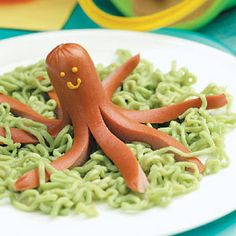 """Octopus and Seaweed"" (hot dog on top of ramen noodles)"