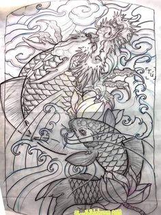 Dragon Tattoo Colour, Koi Dragon Tattoo, Japanese Dragon, Japanese Art, Japanese Koi Fish Tattoo, Latest Tattoos, Asian Tattoos, Black And Grey Tattoos, Tattoo Designs