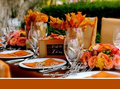 fall Wedding flowers by My FLower Affair. Holiday Centerpieces, Centerpiece Decorations, Flower Centerpieces, Wedding Centerpieces, Centrepiece Ideas, Wedding Decorations, Fall Floral Arrangements, Wedding Flower Arrangements, Wedding Places