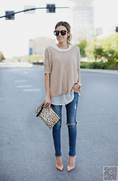 like the top and shoes, not the distressed jeans.... I'm into slouchy sweaters this year!
