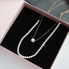 Swarovski Pearl Long Necklace Layering Silver by MAPSYstore, $60.00