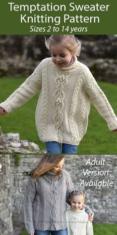 Knitting Pattern for Temptation Sweater Sizes 2 to 14 years - This pullover for children features a cable and bobble design. Sizes 2-4 years (5-6 years; 7-8 years; 9-10 years) [11-12 years; 13-14 years]. An adult version is also available. Aran weight yarn. Designed by Tatsiana Matsiuk