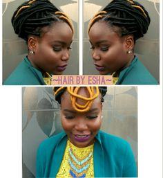 Faux locks is a great protective style, perfect for any occasion. This lovely lady is wearing a faux locks updo made with black and blonde synthetic hair #hairbyesha #newyork #travellingstylist #travellingstylists #fauxlocks #longfauxlocs #naturalhair #Protectivestyle # natural hairstyles