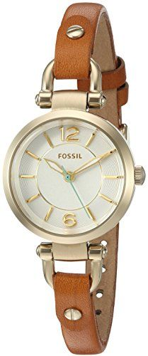 Fossil Womens ES4000 Georgia Mini Dark Brown Leather Watch ** More info could be found at the image url.