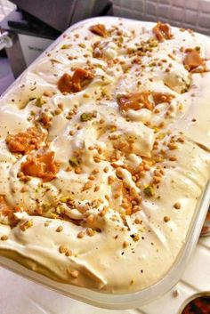Greek Sweets, Greek Desserts, Cold Desserts, Frozen Desserts, Summer Desserts, Sweets Recipes, Cooking Recipes, Gelato Recipe, Frozen Yoghurt