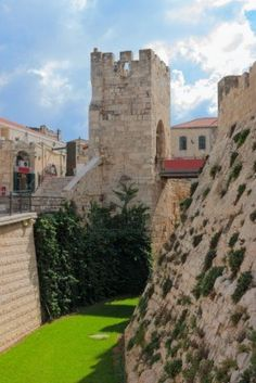 Moat near a tower of david, at the old city walls of Jerusalem, Israel