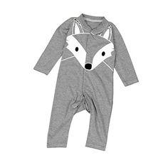 Misaky Baby Boys Girls Cartoon Print Romper Outfits (18M, Gray)