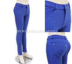 Solid Color Jeggings XW388 Blue