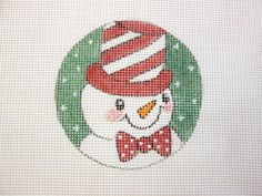 Snowman with Peppermint Hat Handpainted by MarsyesNPCanvas on Etsy