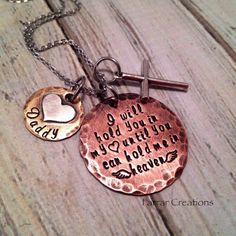 Hand Stamped Memorial necklace - I will hold you in my heart - Mixed Metal Necklace, Loss of a parent, loss of a loved one, Rustic jewelry
