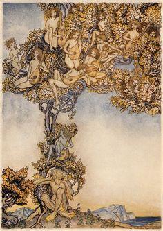 "Arthur Rackham's Stunning 1926 Illustrations for ""The Tempest"" – Brain Pickings Arthur Rackham, Alice In Wonderland Illustrations, Ecole Art, Watercolor Techniques, Watercolor Illustration, Fantasy Illustration, Line Drawing, Book Art, Fairy Tales"