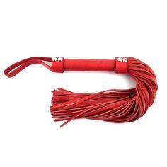 Flogger de cuero H-style color Rojo. Flogger de la de la prestigiosa marca de productos BDSM y fetish Rouge Garments,  con mango corto y correa para un agarre más cómodo.