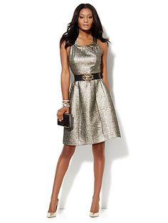 Shop Metallic Matelassé Halter Dress . Find your perfect size online at the best price at New York & Company.