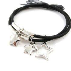 "Bracelet ""Stars"" silver black. Les Tresors de Lily. $8.00. Save 33% Off!"