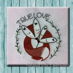 Sweet Valentines Day True Love Foxes Digital Machine Embroidery Design Pattern INSTANT DOWNLOAD Rustic Woodland Primitive Animal Wedding by PersonalLife on Etsy