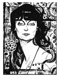Portrait of Anna de Noailles by Paul Thevenaz (Swiss 1891-1921)