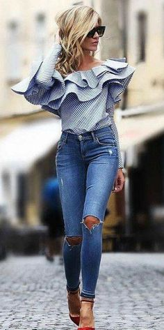 Ruffles + stripes + jeans +heels #style #fashion #inspiration