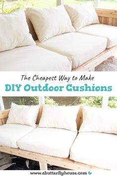 This full, step-by-step tutorial shows you how to make budget-friendly DIY Outdoor Cushions. Some quick waterproof spray means they're weather friendly! Diy Furniture Couch, Outdoor Furniture Plans, Patio Furniture Cushions, Cushions On Sofa, Furniture Ideas, Barbie Furniture, Furniture Design, Garden Furniture, Recover Patio Cushions